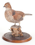 Sculpture, J. PEACOCK CARVED AND PAINTED FIGURE OF A QUAIL. Modern. 14 x 13 inches (35.6 x 33.0 cm). Naturalisticaly painted and carved...