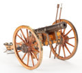 Paintings, WOOD AND METAL MODEL CANNON. Modern. 11-1/2 x 12 x 24 inches (29.2 x 30.5 x 61.0 cm). ...