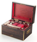 Decorative Arts, British:Other , CHARLES BOYTON & SON VICTORIAN CALAMANDER AND BRASS GENTLEMAN'STRAVEL SET WITH SILVER FITTINGS . Circa 1848-1849. Marks to ...(Total: 11 Items)