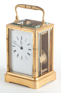 Paintings, A JAPY FRÉRES ET CIE FRENCH GILT BRONZE CARRIAGE CLOCK WITH REPEATER . Early 20th century. Marks to mechanism: JAPY FRERES...