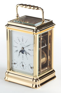 A L'EPÉE FRENCH GILT BRONZE FOUR-DIAL MOON PHASE CARRIAGE CLOCK WITH REPEATER 20th century Marks: L'Epée F...