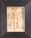 Decorative Arts, Continental:Other , A FRAMED CONTINENTAL CARVED IVORY FIGURAL PLAQUE . 19th century.5-5/8 inches high x 4 inches wide (14.3 x 10.2 cm) (ivory)...
