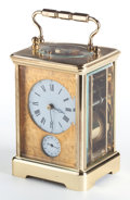 Clocks & Mechanical:Clocks, A L'EPEE FRENCH BRASS CARRIAGE CLOCK WITH REPEATER . 20th century. Marks: L'Epee 1899. 5-1/2 x 3-1/2 x 3-1/4 inches (14....
