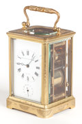 Clocks & Mechanical:Clocks, A BOXED SCHUYLER HARTLEY & GRAHAM BRASS CARRIAGE CLOCK WITH REPEATER . Early 20th century. Marks to clock face: SCHUYLER H... (Total: 2 Items)