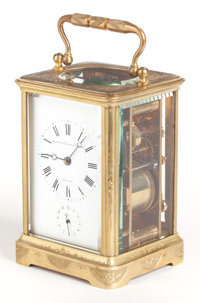 A BOXED SCHUYLER HARTLEY & GRAHAM BRASS CARRIAGE CLOCK WITH REPEATER Early 20th century Marks to clock face: &am...
