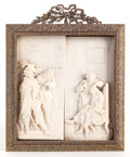 Decorative Arts, French, A FRAMED FRENCH CARVED IVORY PLAQUE: MOLIÈRE AT THE BARBER .19th century. 7 inches high x 6-3/8 inches wide...