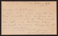 Baseball Collectibles:Others, Walter Johnson Handwritten, Signed Note Card. ...