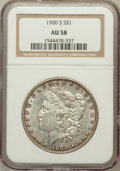 Morgan Dollars: , 1900-S $1 AU58 NGC. NGC Census: (273/2504). PCGS Population(209/4327). Mintage: 3,540,000. Numismedia Wsl. Price for probl...