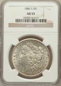 Morgan Dollars: , 1886-S $1 AU55 NGC. NGC Census: (181/3026). PCGS Population(219/4939). Mintage: 750,000. Numismedia Wsl. Price for problem...