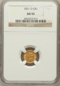 Gold Dollars: , 1851-O G$1 AU55 NGC. NGC Census: (79/650). PCGS Population(71/238). Mintage: 290,000. Numismedia Wsl. Price for problem fr...