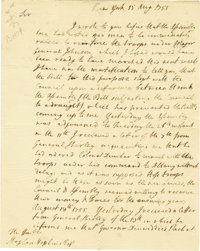 """James DeLancey Autograph Document Signed in full as Lieutenant Governor of New York. Two pages, 6.5"""" x 8"""", New..."""