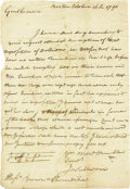 "Military & Patriotic:Revolutionary War, John Sullivan Autograph Letter Signed, ""J. Sullivan"". Onepage, 6.5"" x 8"", Boston, October 16, 1790, to Brown and Thornd..."