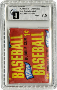 1965 Topps Baseball One-Cent Wax Pack GAI NM+ 7.5. Sealed and slabbed penny pack from the 1965 Topps issue, a set whose...
