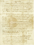 """Autographs:Statesmen, Declaration of Independence Signer Carter Braxton DS, one page withverso endorsement """"C. Braxton"""", 7.25"""" x 9.75"""", n.p.,..."""