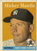 Autographs:Sports Cards, 1958 Topps Mickey Mantle Signed Card #150. Classic Mickey Mantleentry from the 1958 Topps issue, this one bearing the Mick...