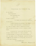 "Autographs:U.S. Presidents, Theodore Roosevelt as Vice President Typed Letter Signed, one page, 8.25"" x 11"", Colorado Springs, February 18, 1901, to Ear..."
