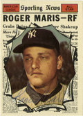 Autographs:Sports Cards, 1961 Topps Roger Maris Signed Card #576. Issued during his historic61-home run campaign, Roger Maris is depicted here on t...