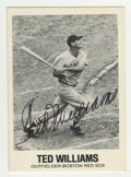 Autographs:Sports Cards, 1977 TCMA/Renata Galasso Series 1 Ted Williams #10 Signed Card. Pristine example of Ted Williams' signature can be found sp...