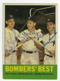 "Autographs:Sports Cards, 1963 Topps Mantle/Tresh/Richardson #173 Signed Card. This card fromthe '63 Topps issue, called ""Bombers' Best"" showcases t..."