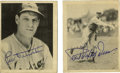 Autographs:Sports Cards, 1939 Play Ball Paul Dean and Leo Durocher Signed Cards Group Lot of 2. Nice high-quality pair from the 1939 Play Ball issu...