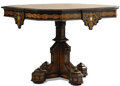 Furniture , A GERMAN GOTHIC REVIVAL MARQUETRY TABLE. Circa 1840. 30-1/4 x 41-1/2 inches (76.8 x 105.4 cm) . ...