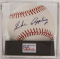 "Autographs:Baseballs, Luke Appling Single Signed Baseball, PSA NM-MT+ 8.5. ""Old Aches andPains"" applies his booming blue ink signature to the sw..."