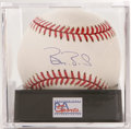 Autographs:Baseballs, Barry Bonds Single Signed Baseball, PSA NM-MT+ 8.5. The man who istrying to rewrite the home run record books gives us thi...