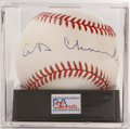 Autographs:Baseballs, Happy Chandler Single Signed Baseball, PSA NM-MT 8. Savvy post-warbaseball commissioner offers up this strong example sing...