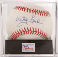 Autographs:Baseballs, Whitey Ford Single Signed Baseball PSA Mint 9. The legendary NewYork Yankees pitcher applies his flawless sweet spot signa...