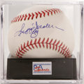 Autographs:Baseballs, Reggie Jackson Single Signed Baseball, PSA NM-MT+ 8.5. Mr. Octoberapplies his signature to the sweet spot of an OAL (Brown...