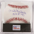 Autographs:Baseballs, Phil Niekro Single Signed Baseball PSA Mint+ 9.5. The superstarpitcher makes note of his 1997 Hall of Fame induction along...