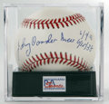 Autographs:Baseballs, Johnny Vander Meer Single Signed Baseball, PSA NM-MT+ 8.5. The starpitcher makes note of the dates of his back-to-back no-...