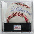 Autographs:Baseballs, Ted Williams Single Signed Baseball, PSA NM-MT 8. The Splinter's HOF pen stroke booms across the sweet spot of the offered ...