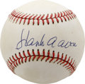 Autographs:Baseballs, Hank Aaron Single Signed Baseball. Hammerin' Hank has left this ONL(Feeney) baseball adorned with his impressive HOF signa...