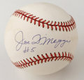 "Autographs:Baseballs, Joe DiMaggio ""#5"" Single Signed Baseball. Joe DiMaggio, one of theYankees' favorite sons, has left the provided OAL (Budig..."