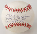 "Autographs:Baseballs, Joe DiMaggio ""HOF 55"" Single Signed Baseball. Yet another exampleof the highly desirable Joe DiMaggio single, this one wit..."
