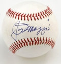 Autographs:Baseballs, Joe DiMaggio Single Signed Baseball. Nice DiMaggio signatureresides on the sweet spot of this OAL (MacPhail) orb that is m...