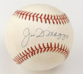 Autographs:Baseballs, Joe DiMaggio Single Signed Baseball. An unimprovable signature from the Yankee Clipper appears on the sweet spot of the pro...
