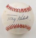 Autographs:Baseballs, Tony Kubek Single Signed Signature. Long-time Yankee and '57 ALRookie of the Year Tony Kubek has left the offered OAL (Bro...