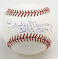"Autographs:Baseballs, Eddie Murray ""3255/504"" Single Signed Baseball. Hall of Fameslugger Eddie Murray makes reference to his inclusion in both ..."