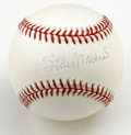 Autographs:Baseballs, Stan Musial Single Signed Baseball. The OML orb offered here hashad the privilege of being signed right on the sweet spot ...