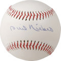 Autographs:Baseballs, Phil Niekro Single Signed Baseball. HOF knuckleballer Phil Niekrohas adorned the sweet spot of the offered unofficial base...