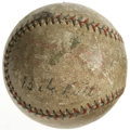 Autographs:Baseballs, Babe Ruth Signed Baseball. This heavily toned OAL (Barnard) baseball has suffered many abrasions and other cosmetic misgivi...