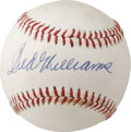 Autographs:Baseballs, Ted Williams Single Signed Baseball. The Splendid Splinter hasapplied a perfect 10 signature to the sweet spot of the offe...