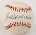 Autographs:Baseballs, Ted Williams Single Signed Baseball. Stunning sweet spot signature has been applied to the offered OAL (Brown) baseball cou...