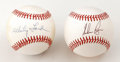 Autographs:Baseballs, Whitey Ford and Nolan Ryan Single Signed Baseballs Lot of 2. Herewe offer a nice pair of singles, each featuring a HOF hur...(Total: 2 Items)