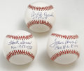 Autographs:Baseballs, Baseball Award Winners Single Signed Inscription Baseballs Lot of3. All three of the players who have applied their signat...(Total: 3 Items)