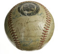 Autographs:Baseballs, Circa 1940 St. Louis Cardinals and New York Yankees Multi-SignedBaseball. A lucky fan who was in Florida for Spring Traini...