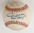 Autographs:Baseballs, Multi-Signed Baseball with Mays and Slaughter. Of the eightsignatures we find on the leather of the offered ONL (White) ba...