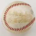 Autographs:Baseballs, Vintage Stars Multi-Signed Baseball. Four vintage stars populatethe surface of the baseball we see here, most notably the ...